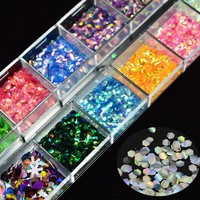 1Box Colorful Scales Nail Sequins Shining Paillette Tips Decor Mixed Manicure Nail Art Accessories DIY for Nails Decoration LALP