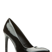 Black Faux Patent Leather Pointy Heels