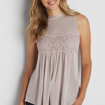 mock neck tank with crochet and peek-a-boo back | maurices