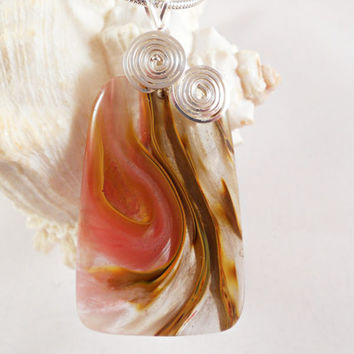 Volcano Cherry Quartz Pendant, Wire Wrapped Handmade Jewelry