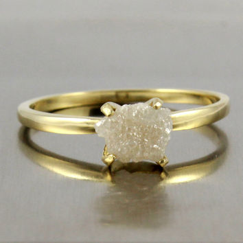 14K Yellow Gold Rough Diamond Ring - Raw Unfinished Diamond, Conflict Free True White Diamond - Engagement Ring - Solitaire Promise Ring