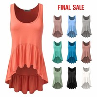 Womens Deep Scoopneck Ruffle Tank Top