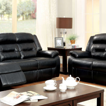 Furniture of america CM6320 2 pc sheldon black bonded leather match sofa and love seat with recliner ends