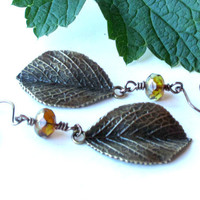Fall leaves earrings -  Picasso Czech glass & antiqued bronze dangles