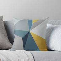 'Navy blue sea' Throw Pillow by printapix