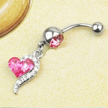 s Rose Red Rhinestone Crystal Heart Barbells Navel Belly Bar Button Ring Body Piercing SM6