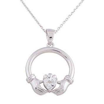 925 Sterling Silver Rhodium Plated Cubic Zirconia Two Hands Claddagh Pendant Necklace