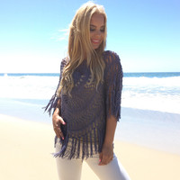 Sunburst Crochet Top In Periwinkle