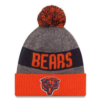 Men's Chicago Bears New Era Heather Gray 2016 Sideline Official Classic Pom Knit Hat