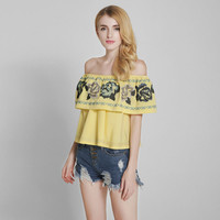 Off Shoulder Falbala Embroidery Blouse