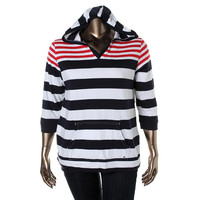 Tommy Hilfiger Womens Striped Long Sleeves Hoodie
