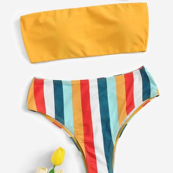 Bandeau With Striped Bikini Set