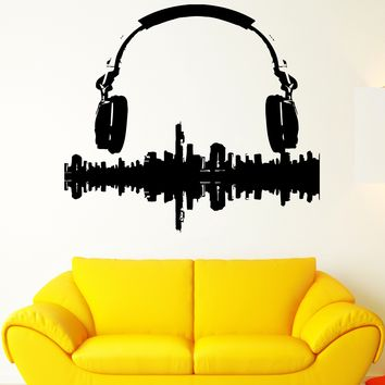 Wall Sticker Vinyl Decal Music Melody Headphones Sound City Panorama Unique Gift (ed423)