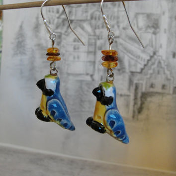 Blue parrot Earrings,  Dangle  Bird Jewelry, Nature Inspired, Silver 925 Earrings, Clay Ceramic Porcelain Bird, Gift for her