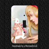 Alice in Wonderland with White Rabbit Toggle or Rocker or Outlet Light Switch Plate Covers