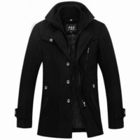Men's Winter Parka Detachable Double Layer Collar Wool Coat