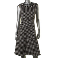Anne Klein Womens Jacquard Embellished Wear to Work Dress