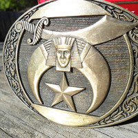 Vintage Brass Belt Buckle SHRINER Masonic Fraternity Mysterious Symbols