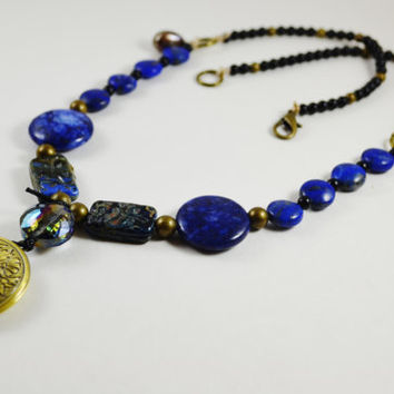 Lapis Lazuli Necklace Sundance style picasso beads Gold locket necklace antique locket jewelry Necklace gemstone Semi precious necklace