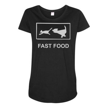 fast food funny Maternity Scoop Neck T-shirt