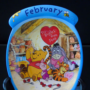 Winnie The Pooh February The Whole Year Through Piglet Tigger Eeyore Decorative Nursery Wall Plate Bradford Exchange Limited Edition