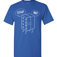 Lego NO,  professional screen printed t shirt.  This t shirt is printed with white ink.  FREE SHIPPING!