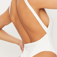 Cream Slinky Square Neck Low Back Thong Bodysuit