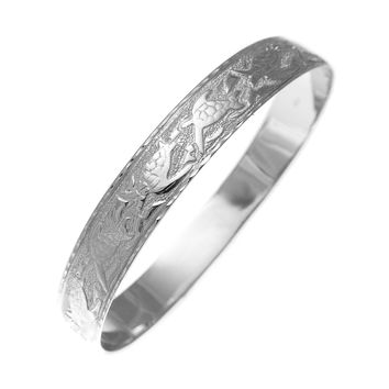 14K White Gold Custom Made Hawaiian Heirloom Sea Life Honu Dolphin Quilt 10mm Bangle