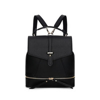 Versatile Leather Backpack - Black