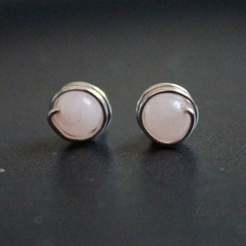 Rose quartz Stud earrings, gemstone earrings, small studs, Sterling silver earrings