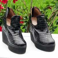 Sz 8.5B Jeffery Campbell Black Mega Platform Creepers Shoes Club Kid Grunge