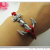 Adjustable Vintage Silver Bacelet  Red Anchor  Bracelet  With Blue Ropes Cuff  Bracelet  Vintage bracelet  Jewelry Bangle 721S