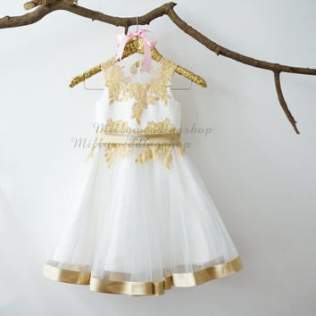 Champagne Gold Lace Ivory Tulle Flower Girl Dress Junior Bridesmaid Wedding Party Dress M0010