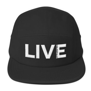 "LiquiHat 5-Panel Camper Hat ""Live Colorfully"" White"