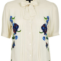 Floral Print Crop Pussybow Blouse