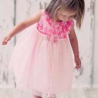 Pink Chiffon Dimensional Flowers & Tulle Overlay Satin Dress (Baby Girls)