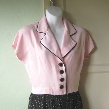 Powder Pink Cropped Pink Schoolgirl Jacket; Black Piping - Cute Short Sleeve Pink Button Up; Medium; Rayon - Pink Cropped Blazer