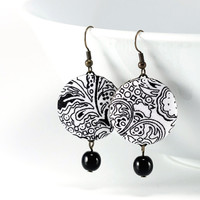 #Dangle #Earrings - #Art #Deco Day - #Black and #White #Flowers - #Romantic Black and White Fabric Covered Buttons #Jewelry with Czech Beads