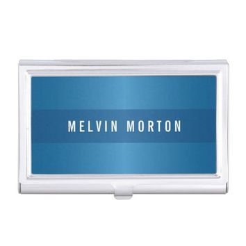 Modern blue gradient classy personalized business card holder
