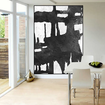 original Abstract painting black and white, large Acrylic painting, extra large wall art, modern Contemporary Painting