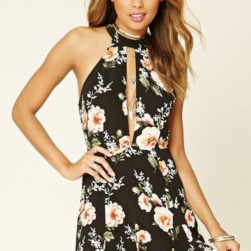 Floral Print Mock Neck Dress