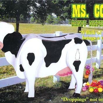 Ms. Cow Wooden Candy Dispenser Funny Toy Poops Candy!