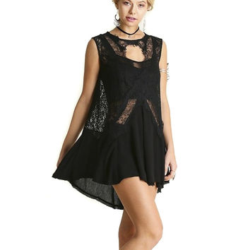 Rock my Gypsy Soul Black Lace X Hi-Lo Dress Top Shirt