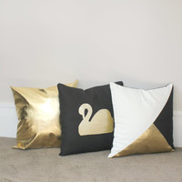 Black Gold & White Trio Pillow set, black swan pillow, geometric gold black white cushion cover, gold decor throw pillow cover