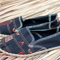 Tribal Womens Slip on Vegan Shoe Loafer In Ethnic Naga Textiles