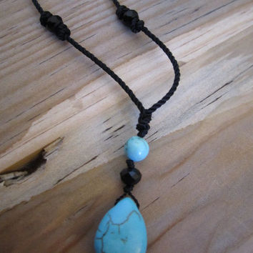 Turquoise tear drop earring and Necklace combo. Turquoise tear drop jewelry. String jewelry
