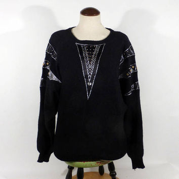 Gem Sequin Sweater Vintage 1980s Knit Black Batwing Beaded Women's Size M Carducci