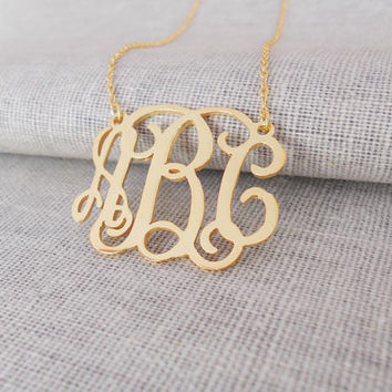 Personalized Small 3-Initial Letter Monogram Necklace,1 inch Monogram Necklace,Gold Monogrammed Initials Necklace,Bridesmaids Gift