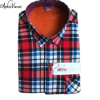Winter Thermal Blouse Warm Thick Shirt Men Long Sleeve Shirts Plaid Cotton Casual Flannel Shirts 17 Style Available Warm Cotton