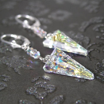 Spike Earrings Sterling Silver Clear Aurora Icicle Swarovski Crystal Spike Dangle Earrings Northern Lights Prism